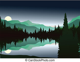silhouette of pine forest - vector illustration of beauty...