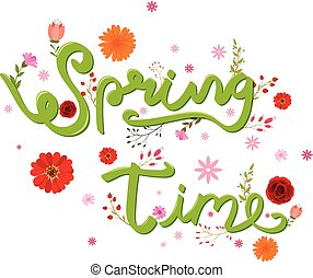 Beauty spring text with colorful flower