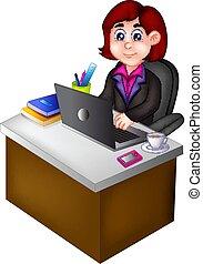 beauty woman career cartoon sitting in office room