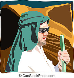vector illustration of bedouin man in the desert