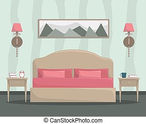 Vector illustration of bedroom interior with bed and bedside tables.