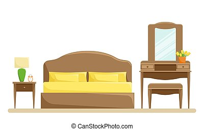 Vector illustration of bedroom interior with bed and trellis on the white background.