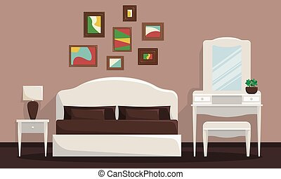 Vector illustration of bedroom interior with bed and trellis.