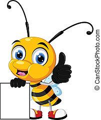 bee cartoon holding blank board - vector illustration of bee...