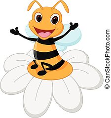 Bee cartoon on flower - Vector Illustration of Bee cartoon...