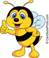 Bee cartoon thumb up - Vector illustration of Bee cartoon ...
