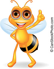 Bee cartoon with thumb up