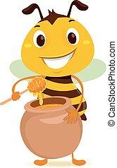 Bee holding a Jar of Honey