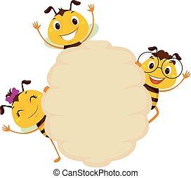 Bee on Blank Board Beehive Frame