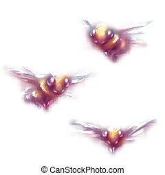 Vector illustration of bee on white background
