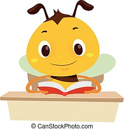 Bee Reading a Book on the table