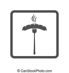 Vector illustration of beer appetizer icon. Sausage and fork on