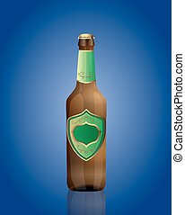Vector illustration of beer bottle with green label