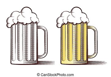 Vector illustration of beer in engraved style - Vector...