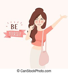 Vector illustration of Believe in yourself Girl fashion...