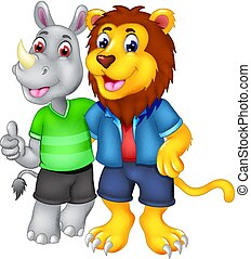 best friend of lion and rhino cartoon standing with smile and hugging