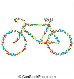 Vector illustration of bicycle against the white