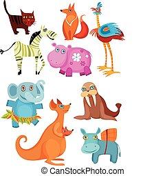 big animal set - vector illustration of big animal set