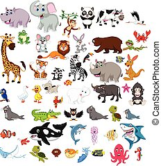 big animals cartoon set