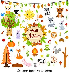 Big autumn set with cute animals