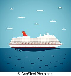 Vector illustration of big sea cruise liner in modern flat...