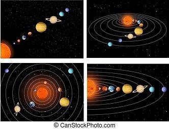 Big set beautiful solar system