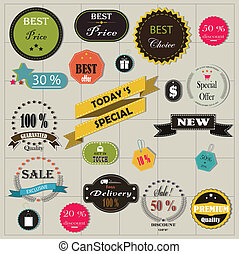 big set of stickers and ribbons - vector illustration of big...