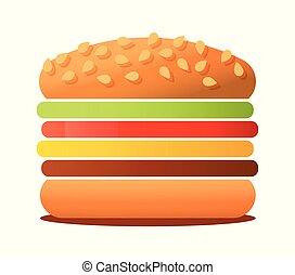 Vector illustration of big tasty Burger isolated on white background