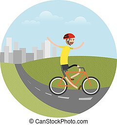 vector illustration of biker riding bicycle