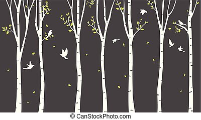 Birch Tree with deer and birds Silhouette Pattern
