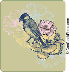 Vector illustration of birds and blooming roses, hand-drawing.