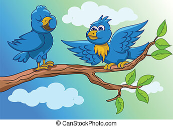 birds are singing in the morning - vector illustration of ...