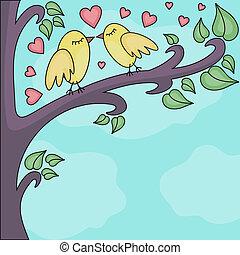 birds kissing on a brunch