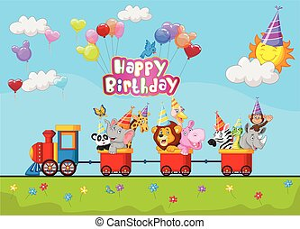 Birthday background with animal on - Vector illustration of...