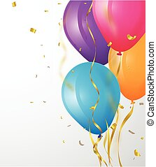 Birthday background with balloon and confetti