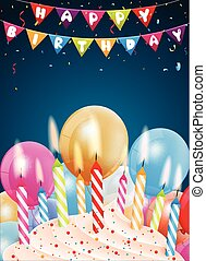 Birthday background with colorful