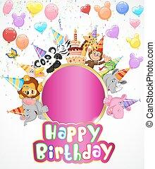 Birthday background with happy anim
