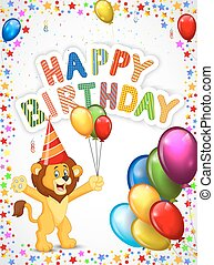 Birthday background with happy lion