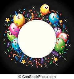 Birthday Balloon With Confetti Background