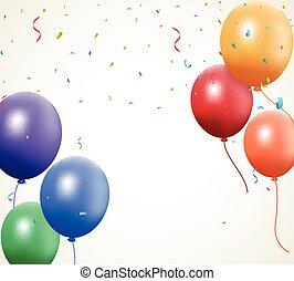 Birthday balloon with confetti