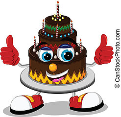 Birthday cake cartoon thumb up