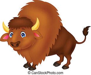 Bison cartoon  - Vector illustration of Bison cartoon