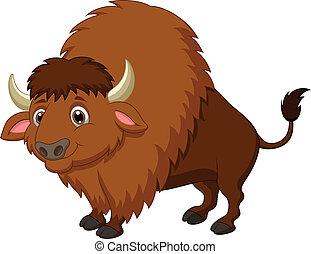 Vector illustration of Bison cartoon