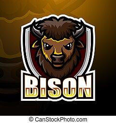 Bison head mascot esport logo design