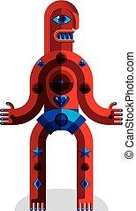 Vector illustration of bizarre modernistic avatar, cubism...