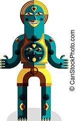 Vector illustration of bizarre modernistic avatar, odd...