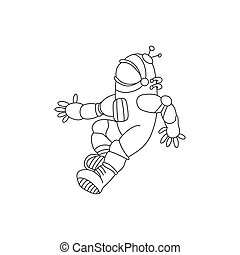Vector illustration of black and white astronaut. Cartoon coloring page book