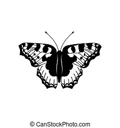 Vector illustration of black and white butterfly