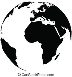 Vector illustration of black and white globe