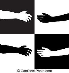 black and white hands - vector illustration of black and ...
